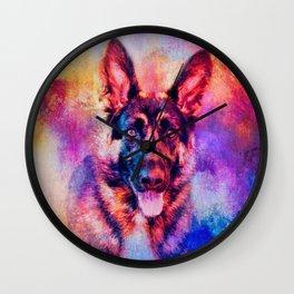 Jazzy German Shepherd Colorful Dog Art by Jai Johnson Wall Clock