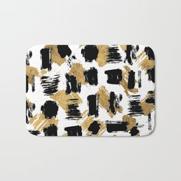 Artistic abstract black gold watercolor brushstrokes Bath Mat
