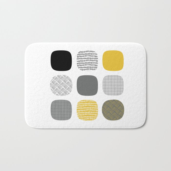 Abstract in mustard and grey Bath Mat