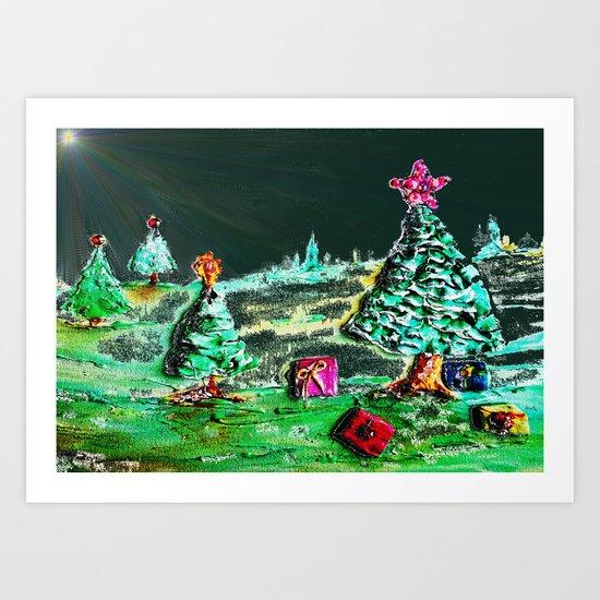 Nightime, Neon, Christmas Delight Art Print
