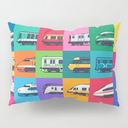 World Trains Grid Pattern Pillow Sham