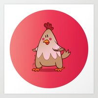 chicken Art Prints featuring Chicken by jebirvoki