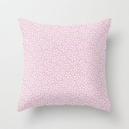 Small Flowers in Cream on Pink Throw Pillow