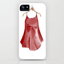 Red silk slip dress iPhone Case