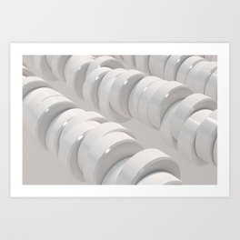 Pattern of white cylinders Art Print