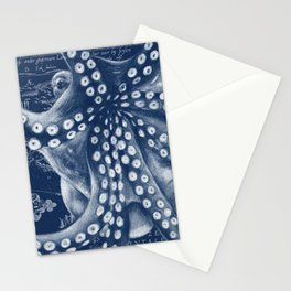 Octopus Vintage Map Blue Nautical Art Stationery Cards