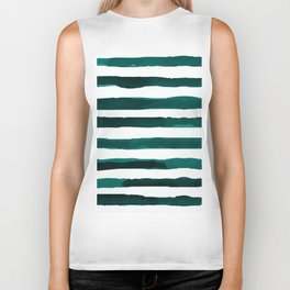 Watercolor Stripes (Emerald Green) Biker Tank