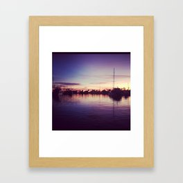 santa barbara harbor sunset  Framed Art Print