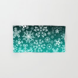 Symbols in Snowflakes on Winter Green Hand & Bath Towel
