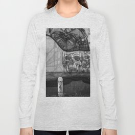 Skulls and Skating (Black and White) Long Sleeve T-shirt