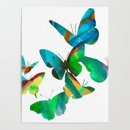 Green Butterflies Poster