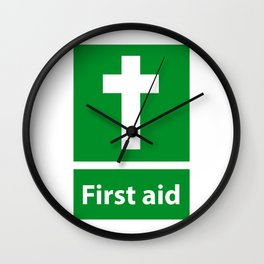 First Aid Cross - Christian Sign Illustration Wall Clock