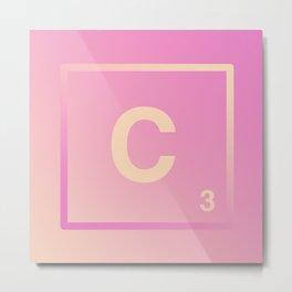 Pink Ombre Scrabble Monogram - C Metal Print