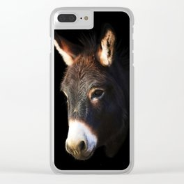 Donkey Black Background Clear iPhone Case