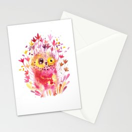 Blooming owl Stationery Cards