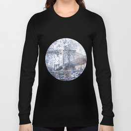 Brooklyn Bridge New York USA Watercolor blue Illustration Long Sleeve T-shirt