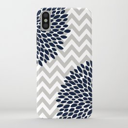 Chevron Floral Modern Navy and Grey iPhone Case