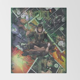 Loki God of Mischief Comic Art Collage Throw Blanket
