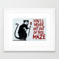 phish Framed Art Prints featuring Banksy Phish Rat by tweezburger