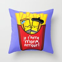french fries Throw Pillows featuring French Fries by Kleviee