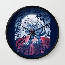 Werewolf Scratching Spooky Fleas Wall Clock