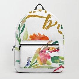 Bride Modern Typography Floral Wreath Backpack