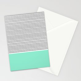 Minimal Mint Stripes Stationery Cards