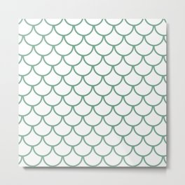 Sea Foam Green Fish Scales Pattern Metal Print