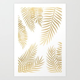 Gold palm leaves Art Print
