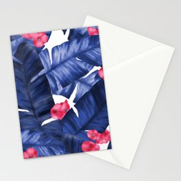 Tropical Banana Leaves With Flower Pattern Stationery Cards