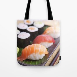 Various Japanese sushi on a plate, shallow depth of field Tote Bag