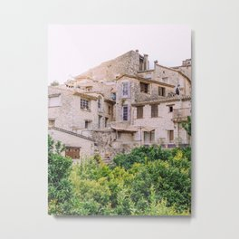 View on town Saint-Paul-du-Vence, beige French village | Travel photography in France, South Europe Metal Print