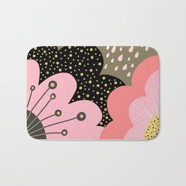 Modern abstract pattern – flowers, clouds and sunshine. Block colors in pink and gold Bath Mat