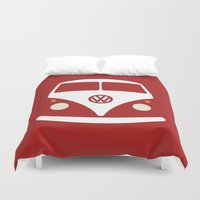 volkswagen Duvet Covers featuring Volkswagen Split Bus by Nick Steen