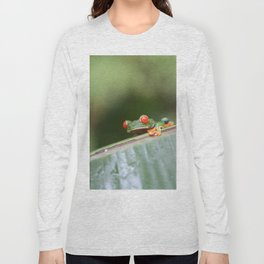Red eye Frog on leaf Costa Rica Photography Long Sleeve T-shirt