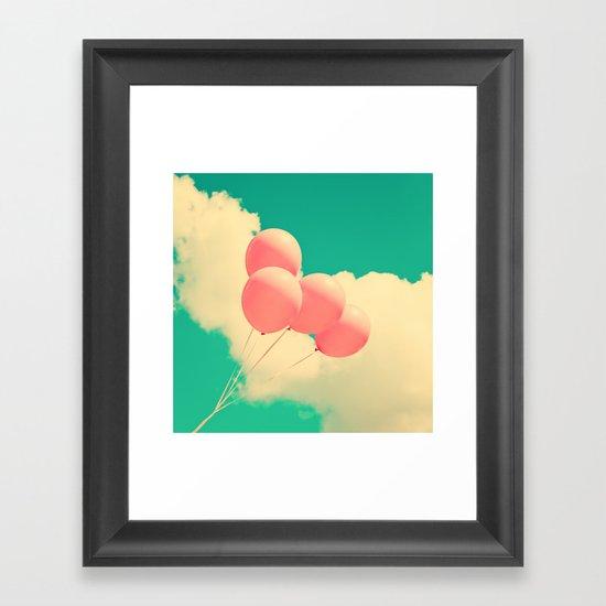 Happy Pink Balloons on retro blue sky  Framed Art Print