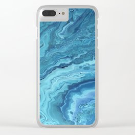 Teal Geode: Acrylic Pour Painting Clear iPhone Case