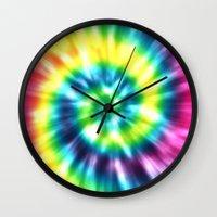 tie dye Wall Clocks featuring Tie Dye by Patterns of Life