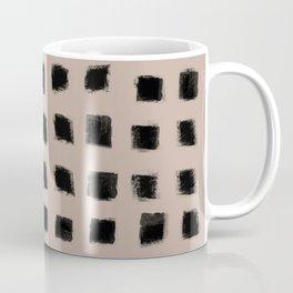 Polka Strokes - Black on Nude Coffee Mug