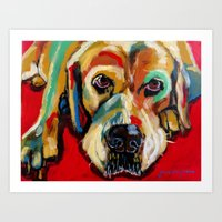 lab Art Prints featuring Yellow Lab by Juliette Caron