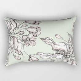 Vintage floral seamless pattern with hand drawn flowering crocus Rectangular Pillow