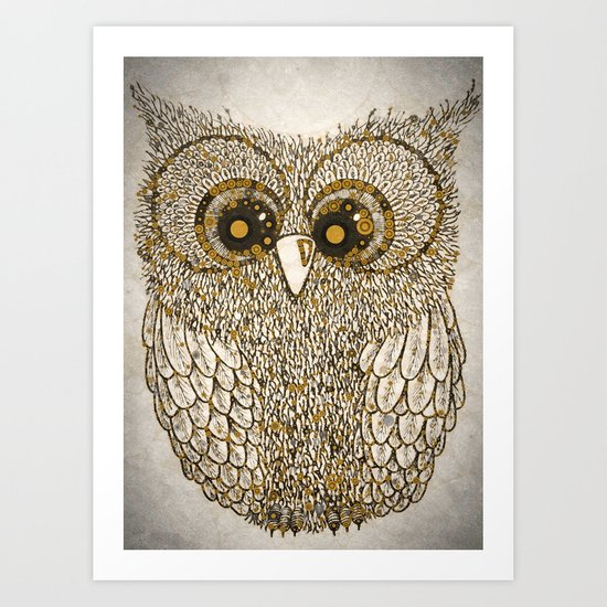Golden Circle Owl Art Print