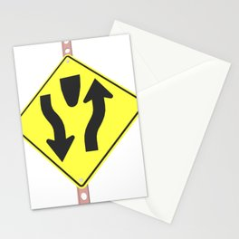 """""""Divided highway"""" - 3d illustration of yellow roadsign isolated on white background Stationery Cards"""