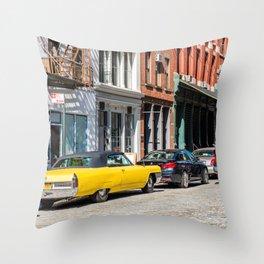 Yellow car in Tribeca, New York Throw Pillow