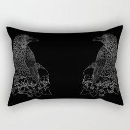 Raven: white on black Rectangular Pillow