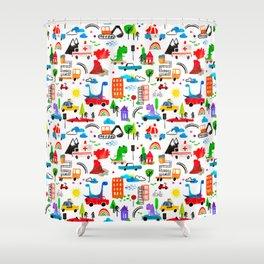 Dinosaur City Watercolor Transportation Pattern Shower Curtain