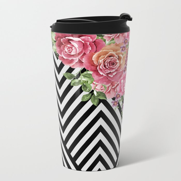 flowers geometric Metal Travel Mug