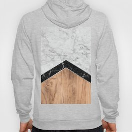 Arrows - White Marble, Black Granite & Wood #585 Hoody