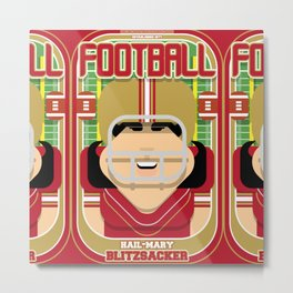 American Football Red and Gold -  Hail-Mary Blitzsacker - Amy version Metal Print