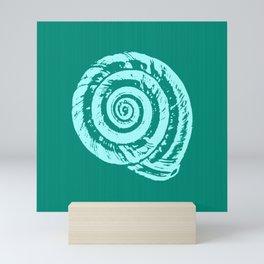 Spiral Seashell Block Print, Turquoise and Aqua Mini Art Print
